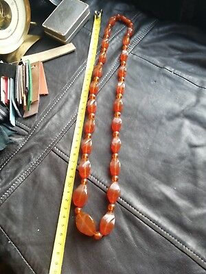 OLD Vintage USSR COGNAC natural Baltic amber beads 72 gr. 老琥珀
