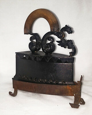 Rare Old Cast Iron Vintage Sad Iron With Stand and Dragon Latch Antique