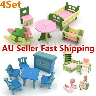 4 Set Dolls House Miniature Accessory Bathroom Home Furniture Children Toys