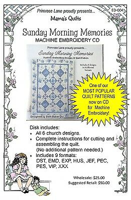 SUNDAY MORNING MEMORIES QUILT MACHINE EMBROIDERY CD, from Primrose Lane, *NEW*