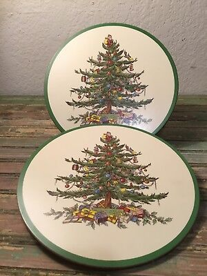 Spode Christmas Tree Cork Backed Trivets 2 Preowned