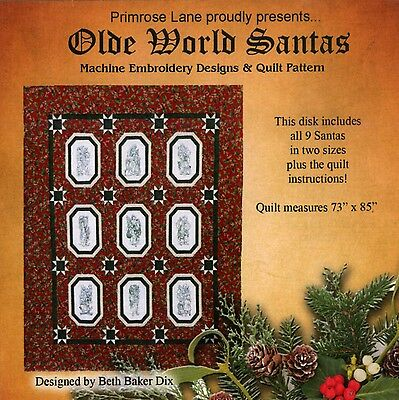 OLDE WORLD SANTAS QUILT MACHINE EMBROIDERY CD, from Primrose Lane, *NEW*