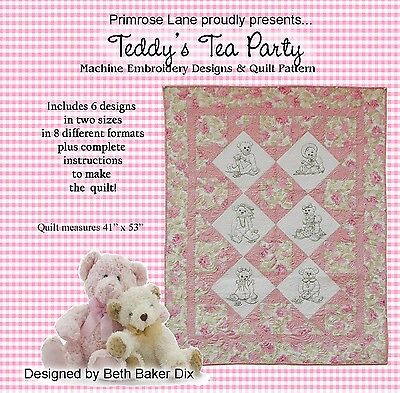 TEDDY'S TEA PARTY MACHINE EMBROIDERY CD WITH PATTERN, from Primrose Lane, *NEW*
