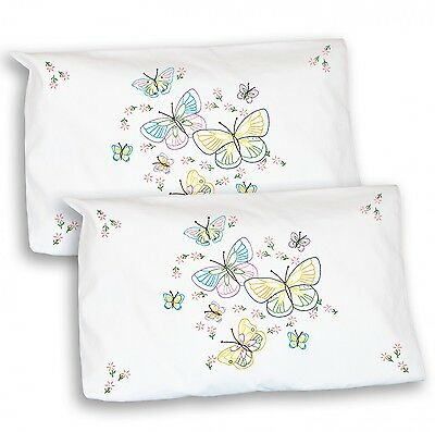 BUTTERFLIES PILLOWCASE SHAM EMBROIDERY PATTERN, from Jack Dempsey Inc., *NEW*