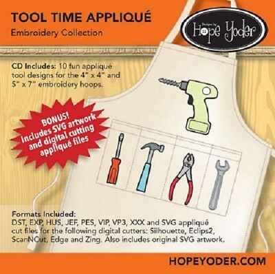TOOL TIME MACHINE EMBROIDERY APPLIQUE PATTERN CD, From Hope Yoder, INC NEW