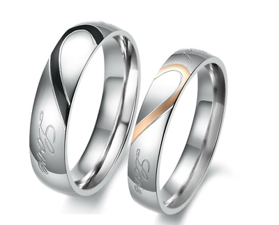 """Couple Rings Stainless Steel classic """"Real love"""" design Promise Valentine's gift"""