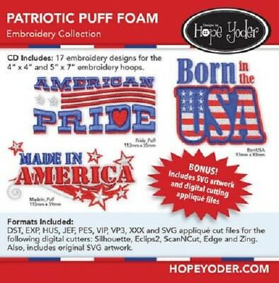 PATRIOTIC PUFF FOAM MACHINE EMBROIDERY PATTERN CD, From Hope Yoder, INC NEW