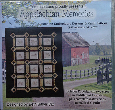 APPALACHIAN MEMORIES QUILT MACHINE EMBROIDERY DESIGNS CD, from Primrose Lane NEW