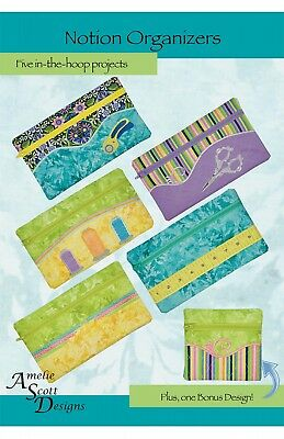 NOTION ORGANIZERS MACHINE EMBROIDERY PATTERN WITH CD, From Amelie Scott Designs