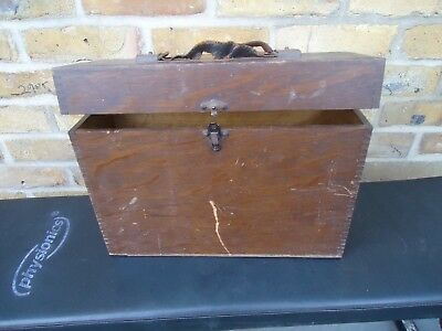 Old Antique Oak Wooden Box Arts & Crafts Dove Tail Joint With Strap -need TLC