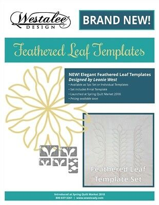 5 PIECE FEATHER LEAF TEMPLATE SET, Sew Steady For Longarm, From Westalee Design