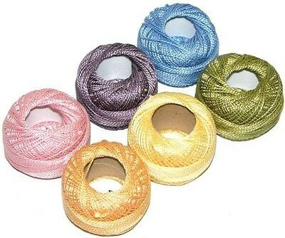PRESENCIA PERLE PEARL Neutral 6 Colors NEW COTTON SIZE 5 THREAD SAMPLER PACK