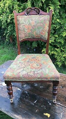 Beautiful Antique Vintage Small Covered Wooden Chair On Casters *