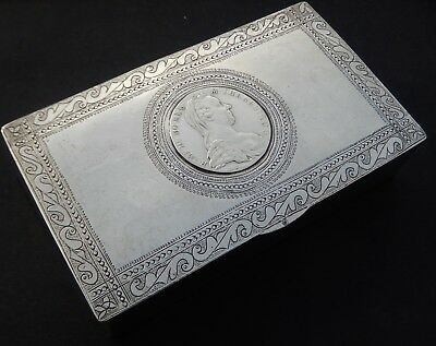 Large Antique Islamic High Purity Heavy Solid Silver Box; Sudan c1910