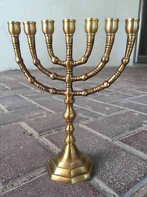 """Authentic 8"""" brass copper Menorah vintage candle holder Judaica gift from Israel"""