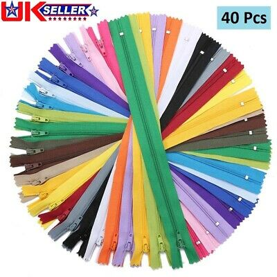 50x 9Inches Nylon ZIPS Zippers for Sewing Clothes Bags Random Color UK Stock