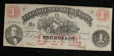 $1 Virginia Treasury Note - Civil War Era Issue - July 1862