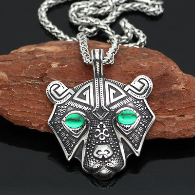 Norse Viking Pendant Norse Bear Head Mens Cord Rope Chain Necklace Animal Amulet