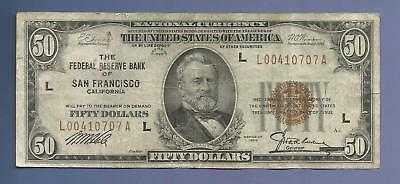 CC&C $50 1929 - Federal Reserve Bank Note SAN FRANCISCO - SHIPS FREE!