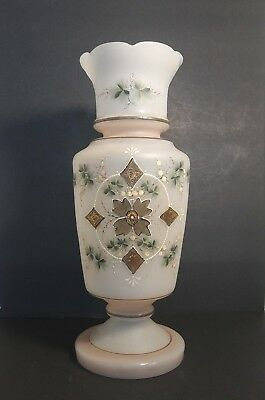 Antique Large Victorian Bristol Satin Glass Vase Hand Blown and Painted