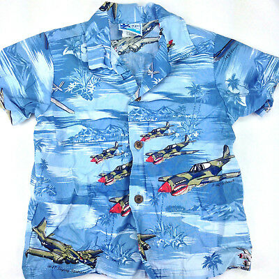 Authentic Hawaiian RJC Shirt Boys 4T Tropical Fighter War Planes Made in Hawaii