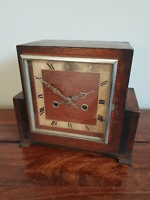 Antique 1930's Enfield Oak Mantel Clock (Square Face Roman Numerals Pendulum)