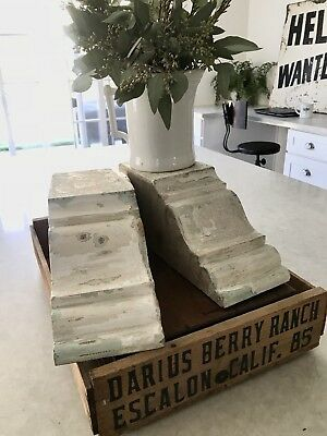 Antique Wood Corbels Corner Brackets Architectural Salvage Pair Chippy Paint