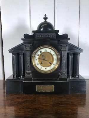 Black Stone Mantle Clock. 1920's Ornate Mantle Piece Antique Clock