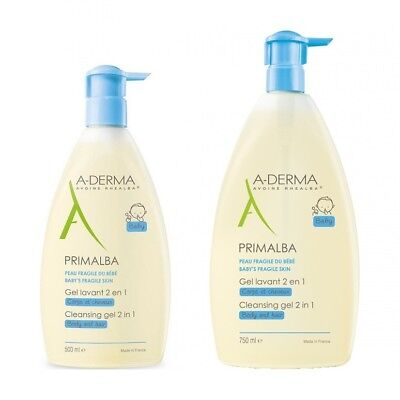A-Derma Primalba Gentle Cleansing Gel 750ml  500ml Baby's Fragile Skin Body Hair