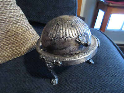 1883 FB Rogers Silver Co Silverplate Roll Top Lion Foot Butter Dish Crown Mark