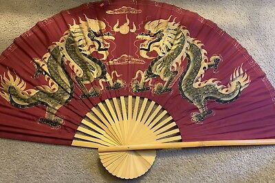 "VINTAGE ASIAN BAMBOO/CLOTH WALL FAN 60"" x 35"" HAND PAINTED"