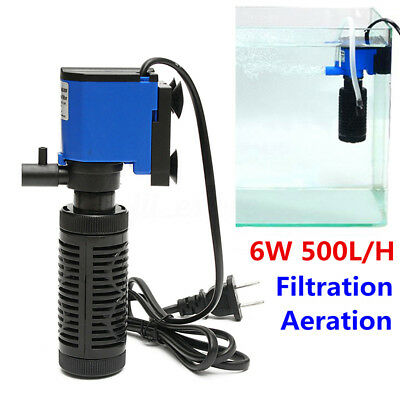 6W 500L/H Aqua Fish Tank Aquarium Internal Submersible Water Power Filter Pump