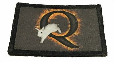 "QAnon Burning ""Q"" White Rabbit Morale Patch Tactical Military Army Flag Badge"