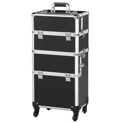 Rolling Aluminum 3 in 1 Cosmetic Case Trolley Makeup Beauty Box Case Black.