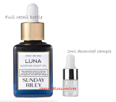 Sunday Riley Luna Sleeping Night Face Oil 2Ml Decanted Samples For Trial/travel