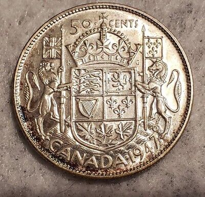 1947 Maple Leaf Canada silver 50 Cents key date