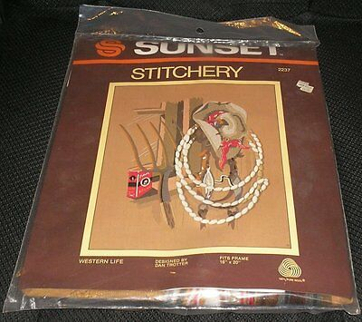 Sunset Stitchery WESTERN LIFE Cowboy Hat Ranch Crewel Embroidery Picture Kit HTF