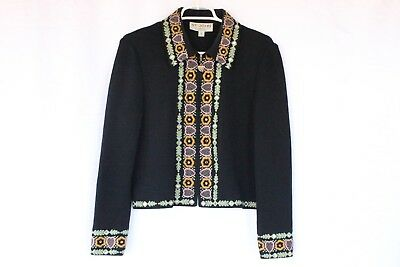 St John Collection Marie Gray Womens Black Formal Embroidered Jacket 6 XS