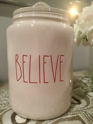 Rae Dunn By Magenta BELIEVE Christmas Canister Rare HTF New