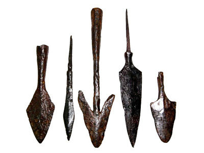 LOT OF 5pcs. ANCIENT IRON ARROW HEADS, BROAD VARIETY+++TOP CONDITION+++