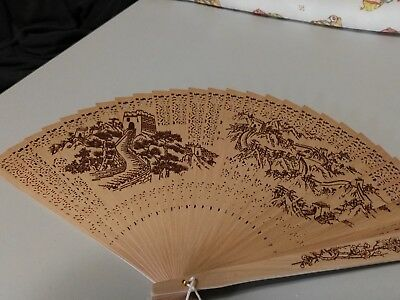 Vintage Hollow Wood Hand Fan Chinese Fragrant Sandalwood - great wall of china
