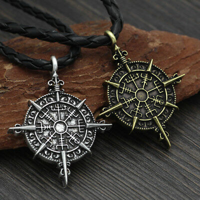 Norse Viking Compass Pike Nordic Pirate Pendant Cord Rope Necklace Amulet
