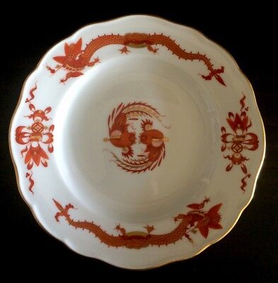 """Antique Rare MEISSEN Dragon Red Rooster Small Plate 6 1/4"""""""