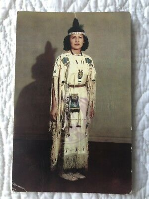 Native American Woman In Ceremonial Dress .. Lawton Oklahoma Postcard