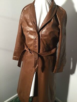 Vintage Leather Brown Womens Trench Coat Size Medium With Belt