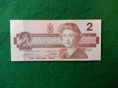 * Canadian 1986 series two dollar bill hard to find clean great shape # 45