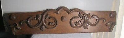 Antique Pediment/Crest in OAK Wood Salvage Coat rack Hat rack