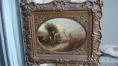 Antique 19th Century Realist landscape man, woman and dog oil painting,great.nr