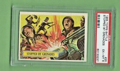 1965 Topps Battle #25 Stopped By Grenades Psa 6 Exmt