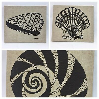 "Marushka Ocean Seashell Screen Print Textile Fabric Wall Art 16"" x 14"" Vtg 1979"